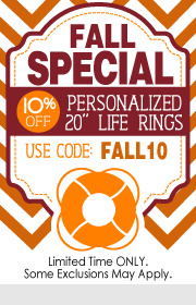 SSNautical.com Coupon - Fall Special - 10 % Off Personalized 20 inch Life Rings