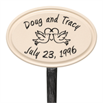 Anniversary Heart and Birds Ceramic Personalized Lawn Plaque - Black