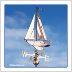 Copper Sailboat Weathervane