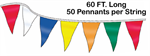 Custom Boat Pennant String - 9 x 12 Triangle - 60 ft Long