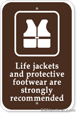 Life Jackets And Protective Footwear with Symbol- 12x18 Marine Sign