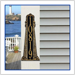 Lighthouse Address Plaque - Large Size - Black with Gold Letters
