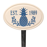 Pineapple Established Ceramic Personalized Lawn Plaque - Blue
