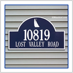 Sailboat Address Plaque - Blue with White Lettering