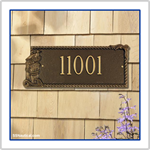 Seagull Rectangle One Line Address Plaque - Bronze with Gold Lettering