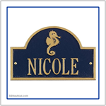 Seahorse Mini Arch Marker Address Plaque - Blue with Gold Lettering