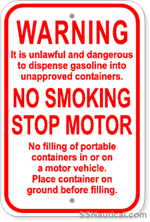 Warning No Smoking Stop Motor - 12x18 Marine Sign