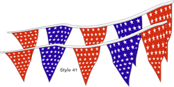 Americana Boat Pennant String - Stars Flags