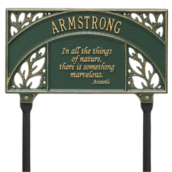 Aristotle Garden Personalized Lawn Plaque - Green / Gold