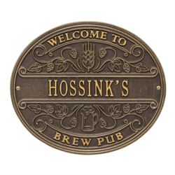 Brew Pub Welcome Plaque - Bronze / Gold