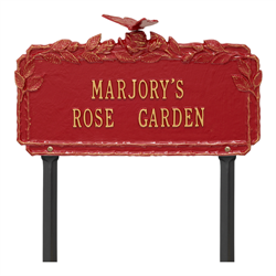 Butterfly Rose Garden Personalized Lawn Plaque - Red / Gold