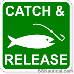 Catch & Release with Fishing Symbol - 12x12 Marine Signs