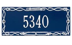 Sailor's Knot Address Plaque - One Line - Blue with White Letters