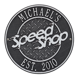 Speed Shop Plaque - Standard Wall - Black / Silver
