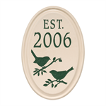 Bird Established Ceramic Personalized Plaque with Green Engraving