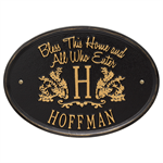 Bless This Home Monogram Oval Personalized Plaque - Black / Gold