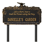 Butterfly Rose Garden Quote Personalized Lawn Plaque - Black / Gold