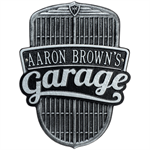 Car Grille Garage Plaque - Standard Wall - Black / Silver