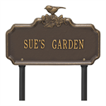 Chickadee Ivy Garden 1-Line Personalized Lawn Plaque - Bronze / Gold