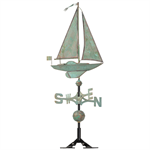 Sailboat Weathervane - Copper Verdigris