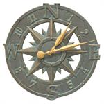 Compass Rose Wall Clock shown in Bronze Verdigris
