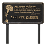 Dianthus Garden Personalized Lawn Plaque - Black / Gold