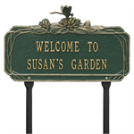 Dragonfly Garden Personalized Lawn Plaque - Green / Gold