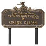 Dragonfly Garden Quote Personalized Lawn Plaque - Bronze / Gold