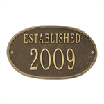 Established Date Personalized Plaque - Antique / Brass