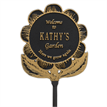 Garden Flower Personalized Lawn Plaque - Black / Gold