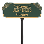 Garden Welcome Personalized Lawn Plaque - Green / Gold