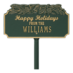 Happy Holidays with Bells - Standard Lawn Plaque - Green / Gold