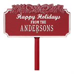 Happy Holidays with Candy Canes - Standard Lawn Plaque - Red / White