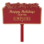 Happy Holidays with Sleigh - Standard Lawn Plaque - Red / Gold
