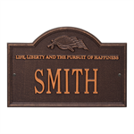 Life and Liberty Personalized Plaque - Antique Copper