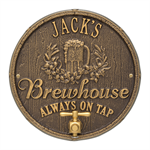 Oak Barrel Beer Pub Plaque - Bronze / Gold