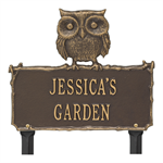 Owl Garden Personalized Lawn Plaque - Bronze / Gold