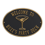 Personalized Martini Plaque - Black / Gold