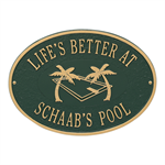 Personalized Swimming Pool Party Plaque - Green / Gold