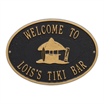 Personalized Tiki Hut Plaque - Black / Gold
