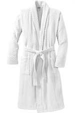 Port Authority Checkered Terry Shawl Collar Robe - Shown in White