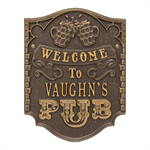 Pub Welcome Plaque shown in Bronze / Gold