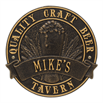 Quality Craft Beer Tavern Round Plaque - Black / Gold