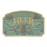 Quality Crafted Beer Arch Plaque - 2 Line - Bronze Verdigris