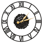 Rosette Floating Ring Indoor Outdoor Wall Clock - Black