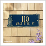 Seagull Rectangle Two Line Address Plaque - Blue with Gold Lettering