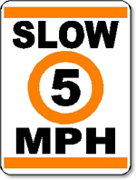 Slow 5 MPH Sign.  18 inches wide x 24 inches tall.  Aluminum.