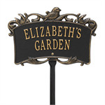 Song Bird Garden Personalized Lawn Plaque - Black / Gold