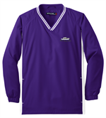 Sport-Tek® Youth Tipped V-Neck Raglan Wind Shirt - Purple / White Cover-up