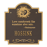 Sun Poem Personalized Plaque - Bronze / Gold
